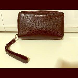 Coach Black Pebble Leather Double Zipper Wallet